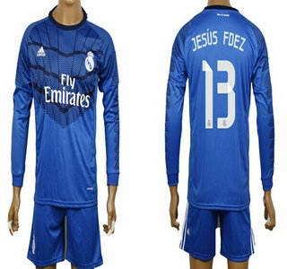 2014-15 Real Madrid #13 Jesus Fdez Goalkeeper Blue Soccer Long Sleeve Shirt Kit