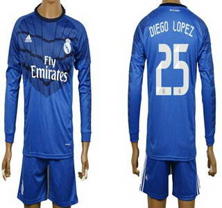 2014-15 Real Madrid #25 Diego Lopez Goalkeeper Blue Soccer Long Sleeve Shirt Kit