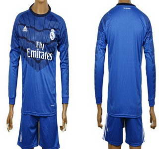 2014-15 Real Madrid Blank (or Custom) Goalkeeper Blue Soccer Long Sleeve Shirt Kit
