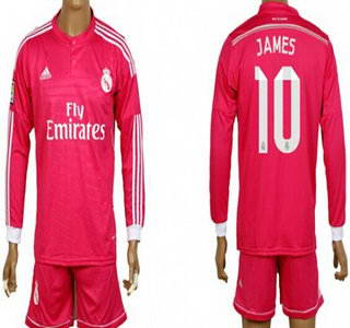 2014-15 Real Madrid #10 James Rodriguez Away Pink Soccer Long Sleeve Shirt Kit