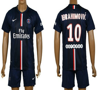 2014-15 Paris Saint-Germain #10 Ibrahimovic Home Soccer Shirt Kit