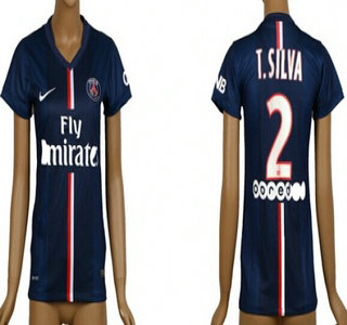 2014-15 Paris Saint-Germain #2 T.Silva Home Soccer AAA+ T-Shirt_Womens