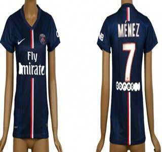 2014-15 Paris Saint-Germain #7 Menez Home Soccer AAA+ T-Shirt_Womens