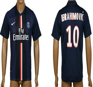 2014-15 Paris Saint-Germain #10 Ibrahimovic Home Soccer AAA+ T-Shirt
