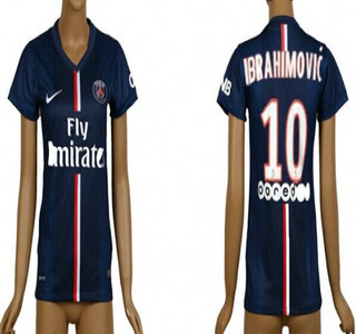 2014-15 Paris Saint-Germain #10 Ibrahimovic Home Soccer AAA+ T-Shirt_Womens