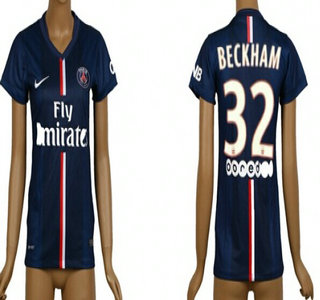 2014-15 Paris Saint-Germain #32 Beckham Home Soccer AAA+ T-Shirt_Womens