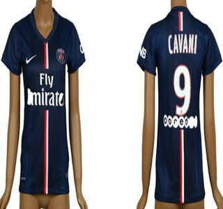 2014-15 Paris Saint-Germain #9 Cavani Home Soccer AAA+ T-Shirt_Womens