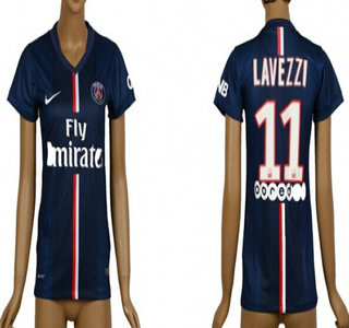 2014-15 Paris Saint-Germain #11 Lavezzi Home Soccer AAA+ T-Shirt_Womens