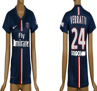 2014-15 Paris Saint-Germain #24 Verratti Home Soccer AAA+ T-Shirt_Womens