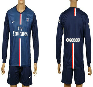 2014-15 Paris Saint-Germain Blank (or Custom) Home Soccer Long Sleeve Shirt Kit