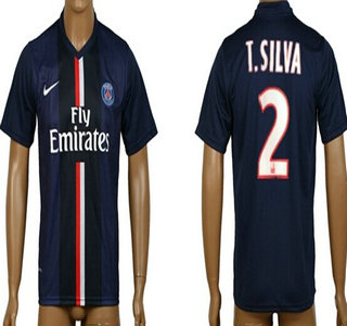 2014-15 Paris Saint-Germain #2 T.Silva Home Soccer AAA+ T-Shirt