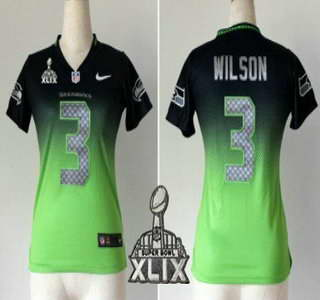 Nike Seattle Seahawks #3 Russell Wilson 2015 Super Bowl XLIX Navy Blue With Green Fadeaway Womens Jersey
