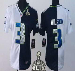 Nike Seattle Seahawks #3 Russell Wilson 2015 Super Bowl XLIX White With Navy Blue Two Tone Womens Jersey