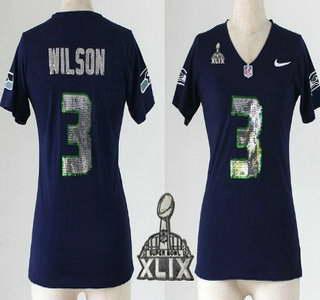 Nike Seattle Seahawks #3 Russell Wilson 2015 Super Bowl XLIX Handwork Sequin Lettering Fashion Blue Womens Jersey