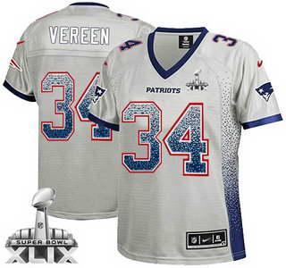 Nike New England Patriots #34 Shane Vereen 2015 Super Bowl XLIX 2013 Drift Fashion Gray Womens Jersey