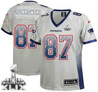 Nike New England Patriots #87 Rob Gronkowski 2015 Super Bowl XLIX 2013 Drift Fashion Gray Womens Jersey