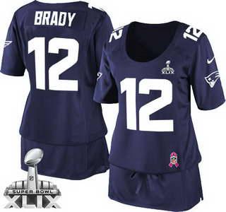 Nike New England Patriots #12 Tom Brady 2015 Super Bowl XLIX Breast Cancer Awareness Navy Blue Womens Jersey