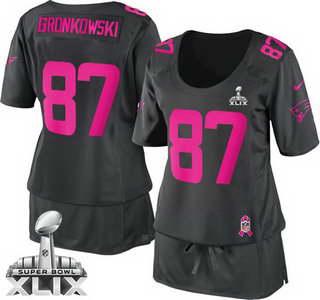 Nike New England Patriots #87 Rob Gronkowski 2015 Super Bowl XLIX Breast Cancer Awareness Gray Womens Jersey