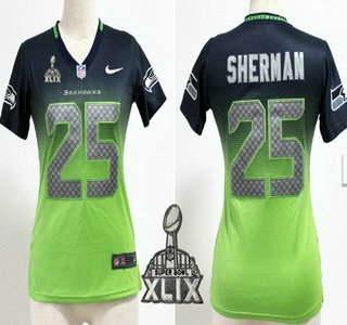 Nike Seattle Seahawks #25 Richard Sherman 2015 Super Bowl XLIX Navy Blue With Green Fadeaway Womens Jersey
