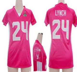 Nike Seattle Seahawks #24 Marshawn Lynch 2015 Super Bowl XLIX 2012 Pink Womens Draft Him II Top Jersey