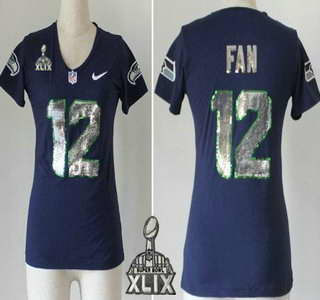Nike Seattle Seahawks #12 Fan Handwork 2015 Super Bowl XLIX Sequin Lettering Fashion Blue Womens Jersey