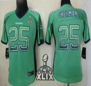 Nike Seattle Seahawks #25 Richard Sherman 2015 Super Bowl XLIX 2013 Drift Fashion Green Womens Jersey