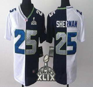 Nike Seattle Seahawks #25 Richard Sherman 2015 Super Bowl XLIX White With Navy Blue Two Tone Womens Jersey