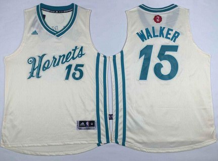 Men's Charlotte Hornets #15 Kemba Walker Revolution 30 Swingman 2015 Christmas Day Cream Jersey