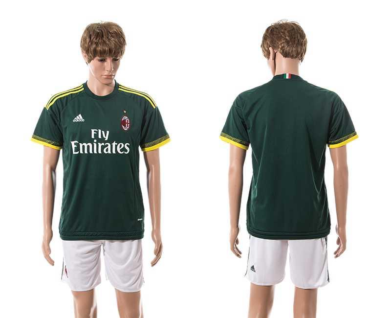 2015-16 Men's AC Milan Third Customized Dark Green Soccer Shirt Kit