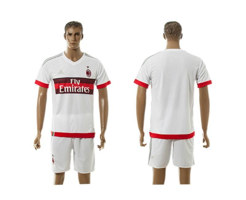 2015-16 Men's AC Milan Away Blank White Soccer Shirt Kit