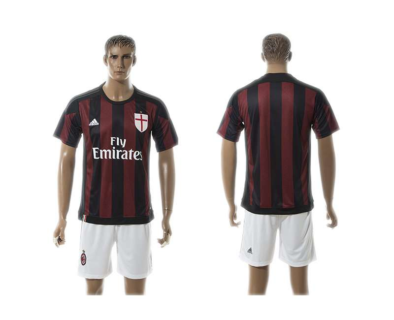 2015-16 Men's AC Milan Home Customized Red With Black Soccer Shirt Kit
