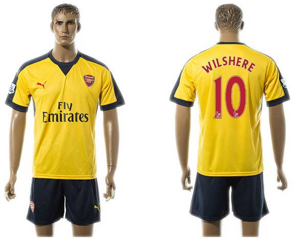 2015-16 Men's Arsenal FC Away #10 Jack Wilshere Gold Soccer Shirt Kit