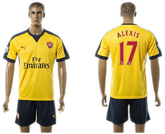 2015-16 Men's Arsenal FC Away #17 Alexis Sanchez Gold Soccer Shirt Kit