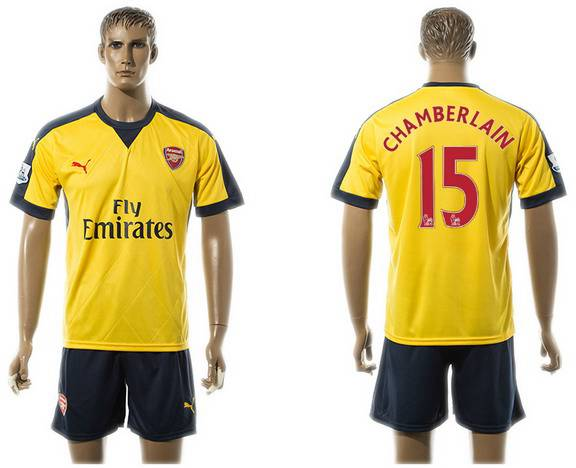 2015-16 Men's Arsenal FC Away #15 Alex Oxlade-Chamberlain Gold Soccer Shirt Kit