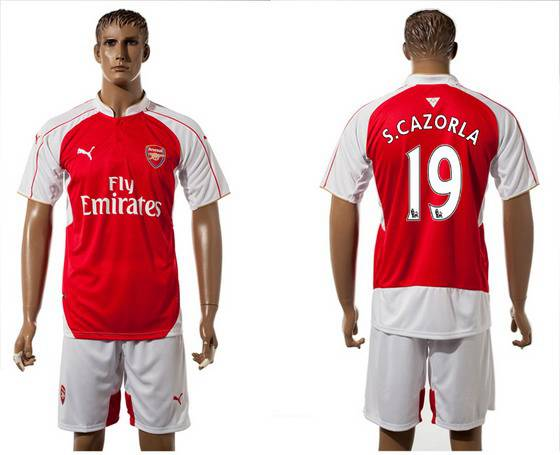 2015-16 Men's Arsenal FC Home #19 Santi Cazorla Red Soccer Shirt Kit