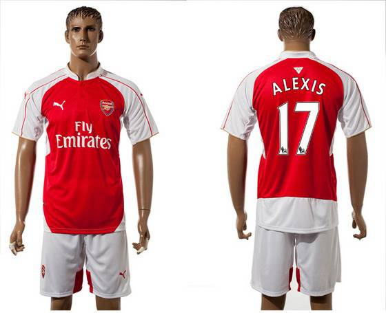 2015-16 Men's Arsenal FC Home #17 Alexis Sanchez Red Soccer Shirt Kit