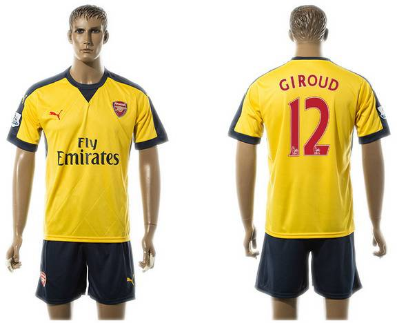 2015-16 Men's Arsenal FC Away #12 Olivier Giroud Gold Soccer Shirt Kit