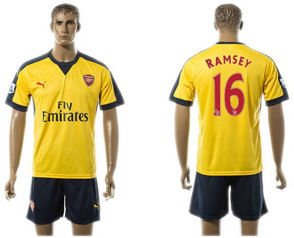 2015-16 Men's Arsenal FC Away #16 Aaron Ramsey Gold Soccer Shirt Kit