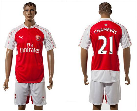 2015-16 Men's Arsenal FC Home #21 Calum Chambers Red Soccer Shirt Kit