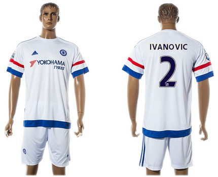 2015-16 Men's Chelsea FC Away #2 Branislav Ivanovic White Soccer Shirt Kit