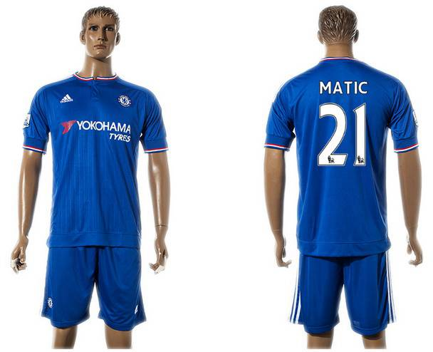 2015-16 Men's Chelsea FC Home #21 Nemanja Matic Blue Soccer Shirt Kit