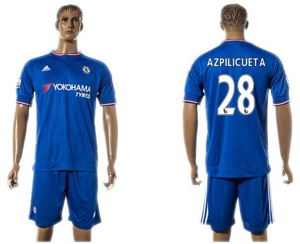 2015-16 Men's Chelsea FC Home #28 César Azpilicueta Blue Soccer Shirt Kit