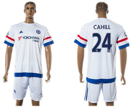 2015-16 Men's Chelsea FC Away #24 Gary Cahill White Soccer Shirt Kit