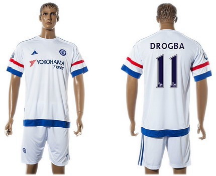 2015-16 Men's Chelsea FC Away #11 Didier Drogba White Soccer Shirt Kit