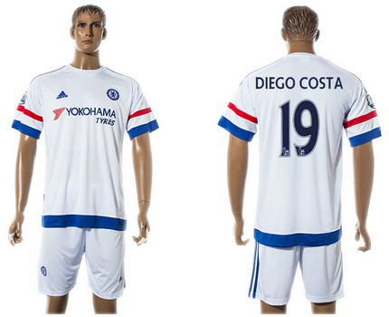 2015-16 Men's Chelsea FC Away #19 Diego Costa White Soccer Shirt Kit