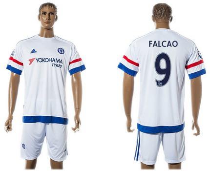 2015-16 Men's Chelsea FC Away #9 Radamel Falcao White Soccer Shirt Kit