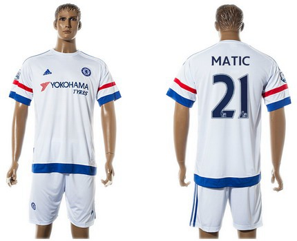2015-16 Men's Chelsea FC Away #21 Nemanja Matic White Soccer Shirt Kit