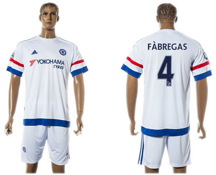 2015-16 Men's Chelsea FC Away #4 Cesc Fabregas White Soccer Shirt Kit