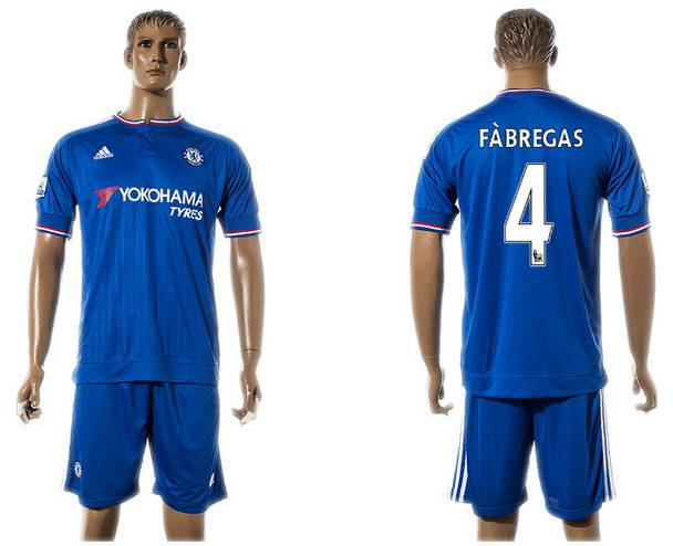 2015-16 Men's Chelsea FC Home #4 Cesc Fabregas Blue Soccer Shirt Kit