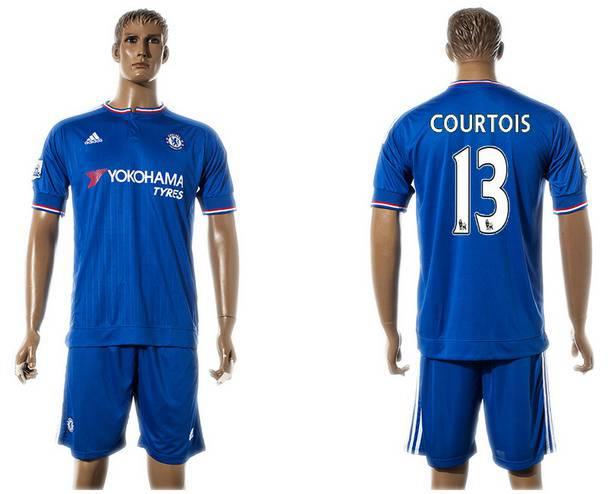 2015-16 Men's Chelsea FC Home #13 Thibaut Courtois Blue Soccer Shirt Kit